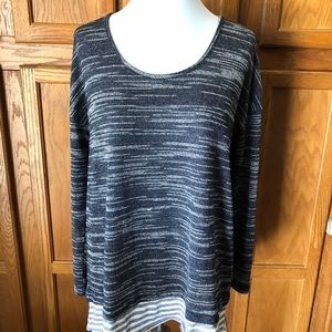 💜Umgee Size M Blue Striped Long Sleeve Sweater